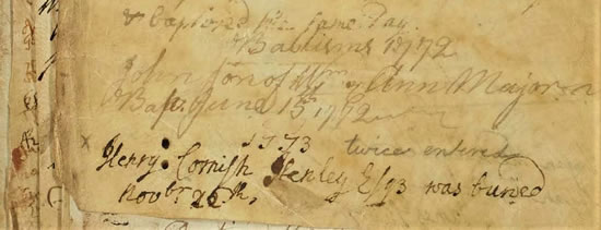 Entry in the Parish Burial Register at Sandringham for Henry Cornish Henley, November 1773