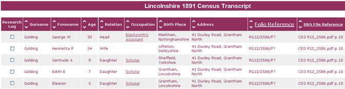 Lincolnshire 1891 Census