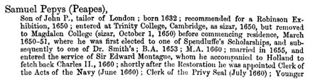 Entry in St Paul's School Admission Register for Samuel Pepys