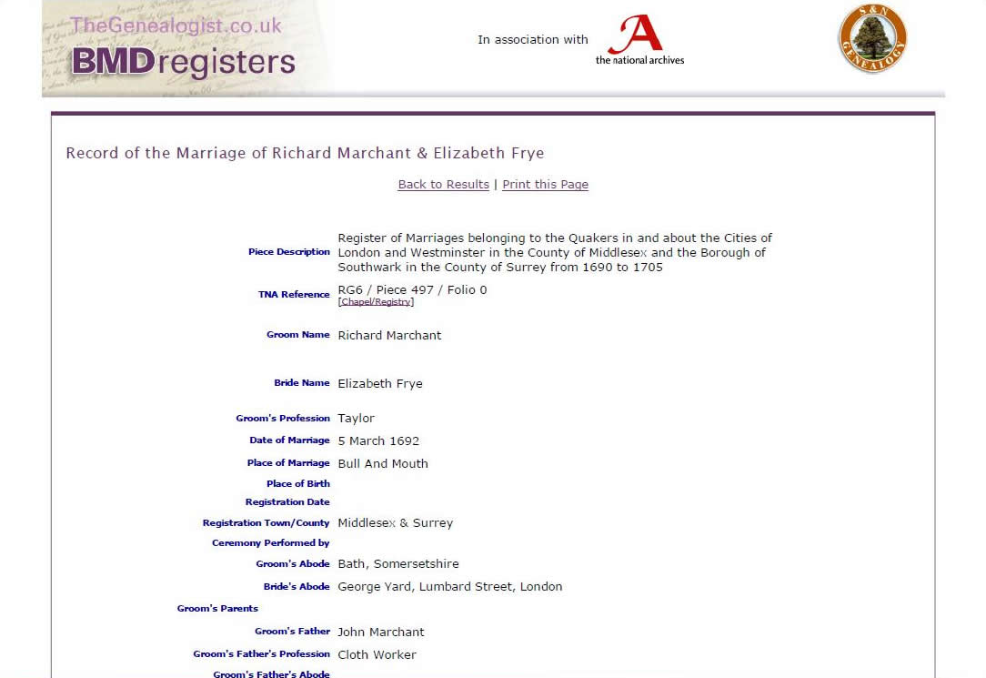 Discovering famous quaker ancestors featured article marriage of richard marchant and elizabeth frye aljukfo Choice Image