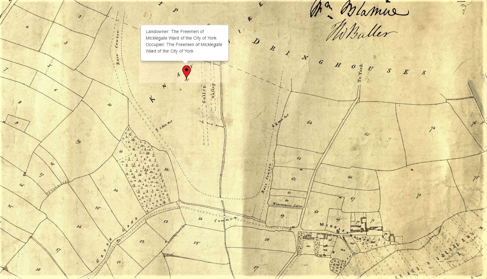 The York Race Course at Knavesmire on a tithe map from 1838 found on TheGenealogist.co.uk