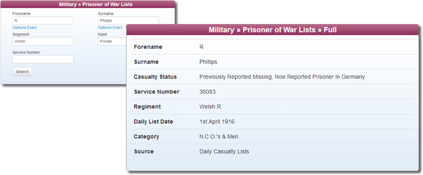 Prisoner of War Records at TheGenealogist