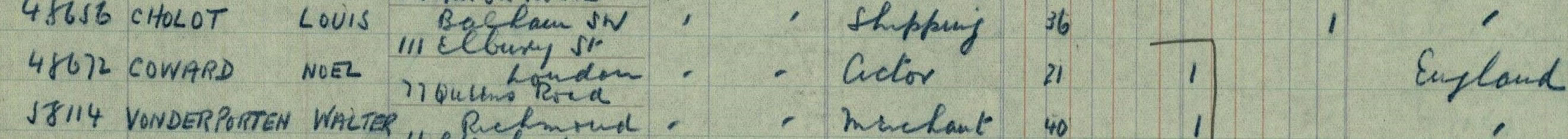 Noel Coward in the Outbound Passenger Lists on TheGenealogist